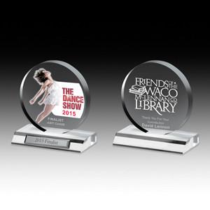 "Screen Printed Clear Circle Award (5""x 5 1/2""x 3/4"")"