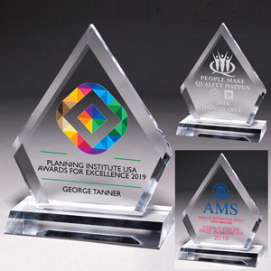"""Screen Printed Multi-Faceted Acrylic Diamond Award (5 3/4""""x 7 1/2""""x 1/2"""")"""