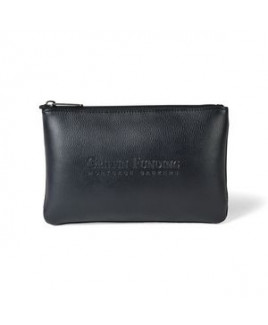 Travis & Wells® Leather Zippered Pouch - Black