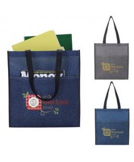 Denim Print Non-Woven Tote Bag