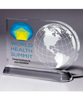 "Medium Globe Award - Laser Engraved - (7½"" x 5¾"" x ¾"")"