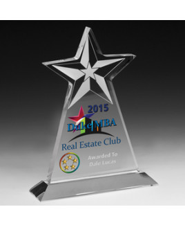 "Vertical Star Award w/4-Color Process (7 1/2""x 9 1/4""x 3/4"")"