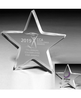 """Laser Engraved Acrylic Star Paperweight (5""""x 5""""x 1"""")"""