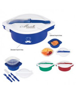 Multi-Compartment Food Container With Utensils