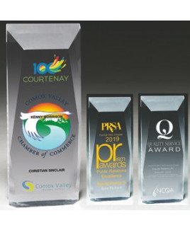 "Laser Engraved Faceted Obelisk Acrylic Award (3 3/4""x 9 3/4""x 1 1/4"")"