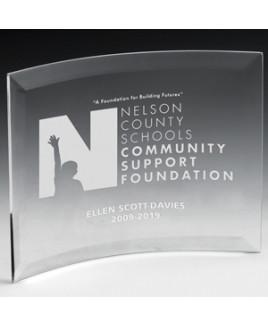 "Laser Engraved Freestanding Curved Award (8 1/2""x 10""x 1/4"")"