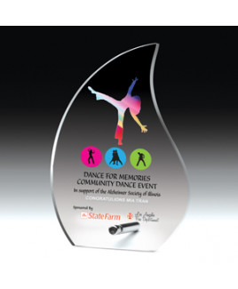 "Laser Engraved Flame Acrylic Award w/Chrome Base (5 5/8""x 8""x 1/2"")"