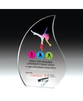 "Flame Acrylic Award w/Chrome Base & 4-Color Process (5 5/8""x 8""x 1/2"")"