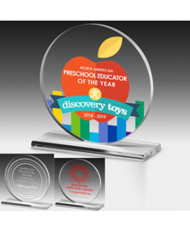 "Screen Printed Elegant Round Acrylic Award (6""x 6 1/4""x 3/8"")"
