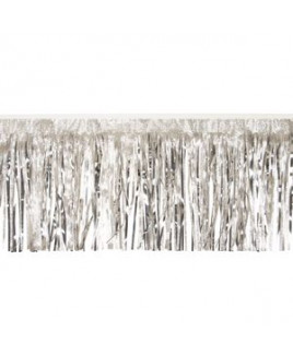 """Victory Corps Embossed Silver & Metallic Silver Fringe (15"""")"""