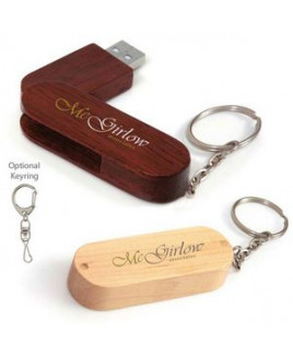 4 GB Universal Source™ Bamboo Bullet Keyring USB 2.0 Flash Drive