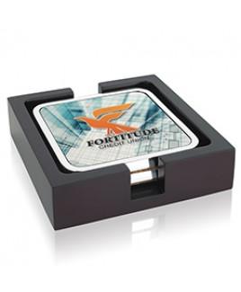 Jaffa® Four Square Radiant Coasters w/Wood Tray