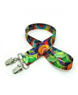 """7/8"""" Digitally Sublimated Lanyard w/ Double Standard Attachment"""