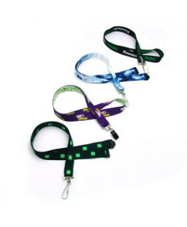 """3/4"""" Digitally Sublimated Lanyard Recycled Lanyard w/ Recycled Plastic J-Hook"""