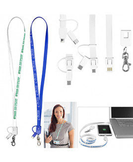 """""""Layton"""" 3-in-1 Lanyard Cell Phone Charging Cable w/Type-C Adapter (Overseas)"""