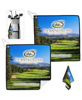 """Tee Off"" PhotoImage® Full-Color Process Suede Golf Towel"