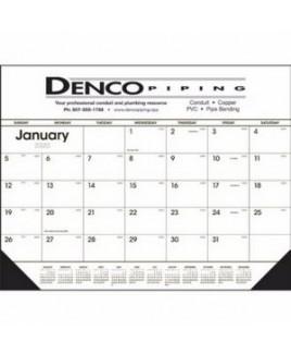 Triumph® Black & White Desk Pad Calendar w/Vinyl Corners