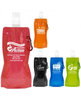 """""""Roll Up"""" 18 Oz. Foldable & Reusable Water Bottle w/Matching Carabiner (Overseas)"""