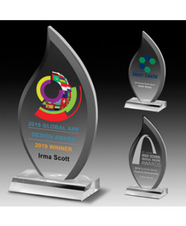 """Laser Engraved Multi-Faceted Acrylic Flame Award (5""""x 9 1/2""""x 3/4"""")"""