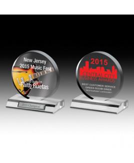 "Laser Engraved Clear Circle Award (6""x 6 1/2""x 3/4"")"