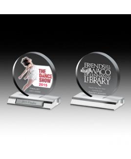 "Laser Engraved Clear Circle Award (5""x 5 1/2""x 3/4"")"