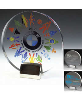 "Round Acrylic Award w/Chrome Base & 4-Color Process (6 1/2""x 3/4"")"