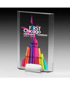 """Screen Printed Rectangular Beveled Award w/Chrome Base (5""""x 7 3/4""""x 3/4"""")"""