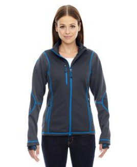 NORTH END SPORT RED Ladies' Pulse Textured Bonded Fleece Jacket with Print