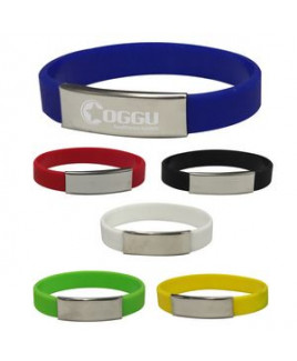 Silicone Bracelet With Metal Plate