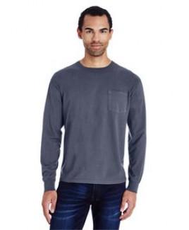 COMFORT WASH Unisex 5.5 oz., 100% Ringspun Cotton Garment-Dyed Long-Sleeve T-Shirt with Pocket