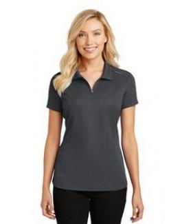 Port Authority® Ladies' Pinpoint Mesh Zip Polo Shirt
