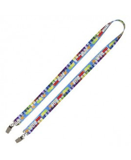"""3/4"""" Super Soft Polyester Multi-Color Sublimation Lanyard w/Dual Attachments (8-10 Weeks)"""