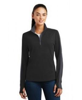 Sport-Tek® Ladies' Sport-Wick® Textured Colorblock 1/4-Zip Pullover Sweatshirt