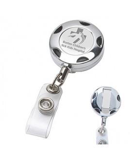 """Tiffin LZ"" Chrome Metal Sport Retractable Badge Reel & Badge Holder w/Laser Imprint"