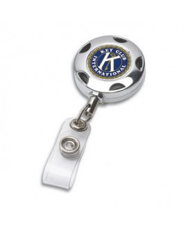"""Tiffin"" Round Chrome Solid Metal Sport Retractable Badge Reel & Badge Holder (Overseas)"