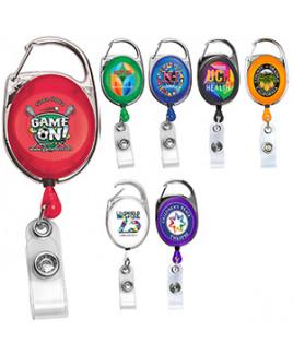 """Oberlin Pl"" Full-Color Retractable Carabiner Style Badge Reel & Badge Holder"