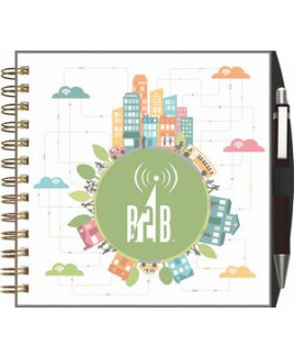 """ClearView™ Square NoteBook Journal w/PenPort & Pen (7""""x7"""")"""