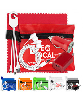 """""""ChargePouch Lux"""" Mobile Tech Home & Auto Charging Kit w/Earbuds & Cleaning Cloth in Pouch"""