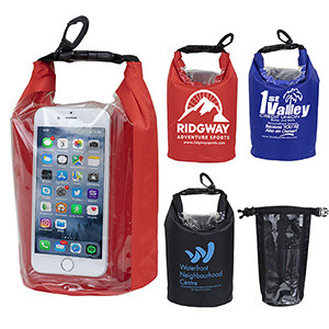 """""""The Navagio"""" 2.5 Liter Water Resistant Dry Bag w/Clear Pocket Window (Overseas)"""