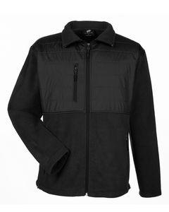 ULTRACLUB Men's Fleece Jacket with Quilted Yoke Overlay