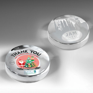 The Prestige Round Glass Award Paperweight (Screen Printed)