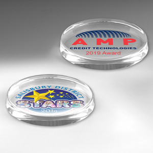 The President Oval Glass Award Paperweight (4-Color Process)