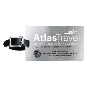 """""""Kingcobra"""" Brushed Aluminum Kwik-Seal® Backing Luggage Bag Tag"""