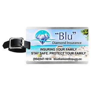 """""""Kingcobra"""" Brushed Aluminum Kwik-Seal® Backing Luggage Bag Tag (Full Color)"""