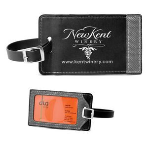 """""""Tomcat"""" Two-Tone Leatherette Black & Gray ID Slip-In Luggage Bag Tag"""