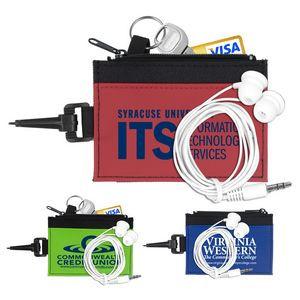 """""""ZipTune ID"""" Mobile Tech Earbud Kit in Travel ID Wallet"""