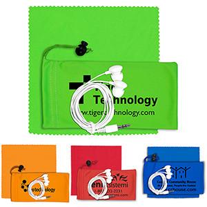 """Tuneboom Plus"" Mobile Tech Earbud Kit w/Microfiber Cloth in Microfiber Cinch Pouch"