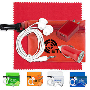 """""""Tons-o-Tunes"""" Mobile Tech Auto & Home Accessory Kit in Pouch w/Carabiner"""