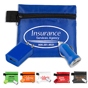 """""""ChargePouch"""" Mobile Tech Auto & Home Charging Kit in Zippered Pouch"""