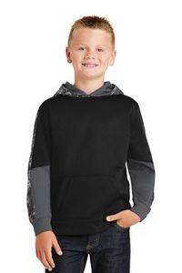 Sport-Tek® Youth Sport-Wick® Mineral Freeze Fleece Colorblock Hooded Pullover Shirt